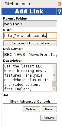 SiteBar adding a link